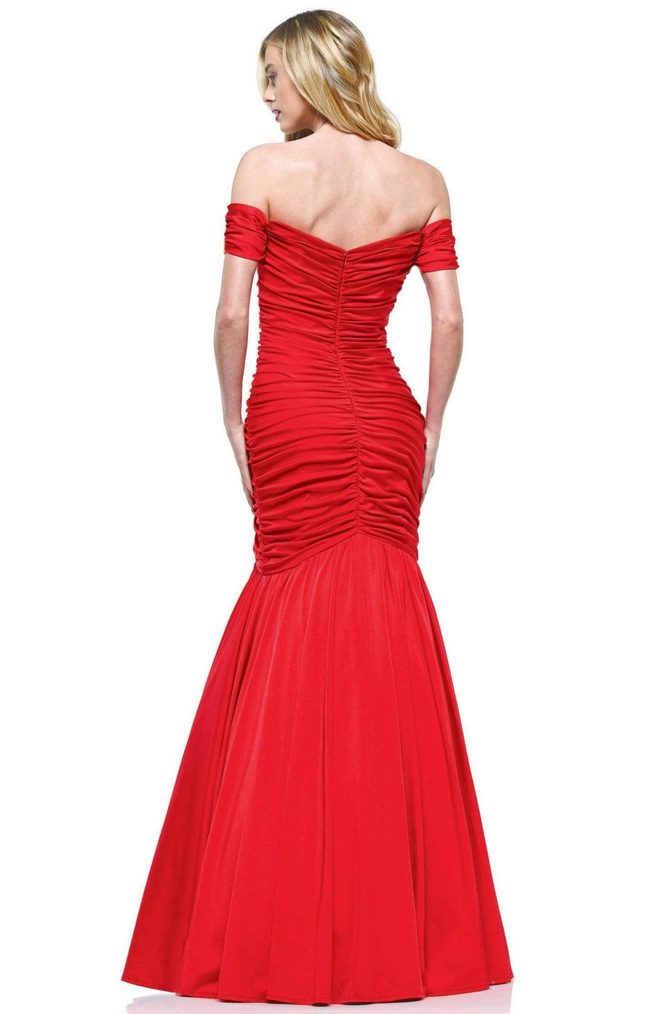 Colors Dress - 2227 Ruched Off Shoulder Mermaid Gown In Red
