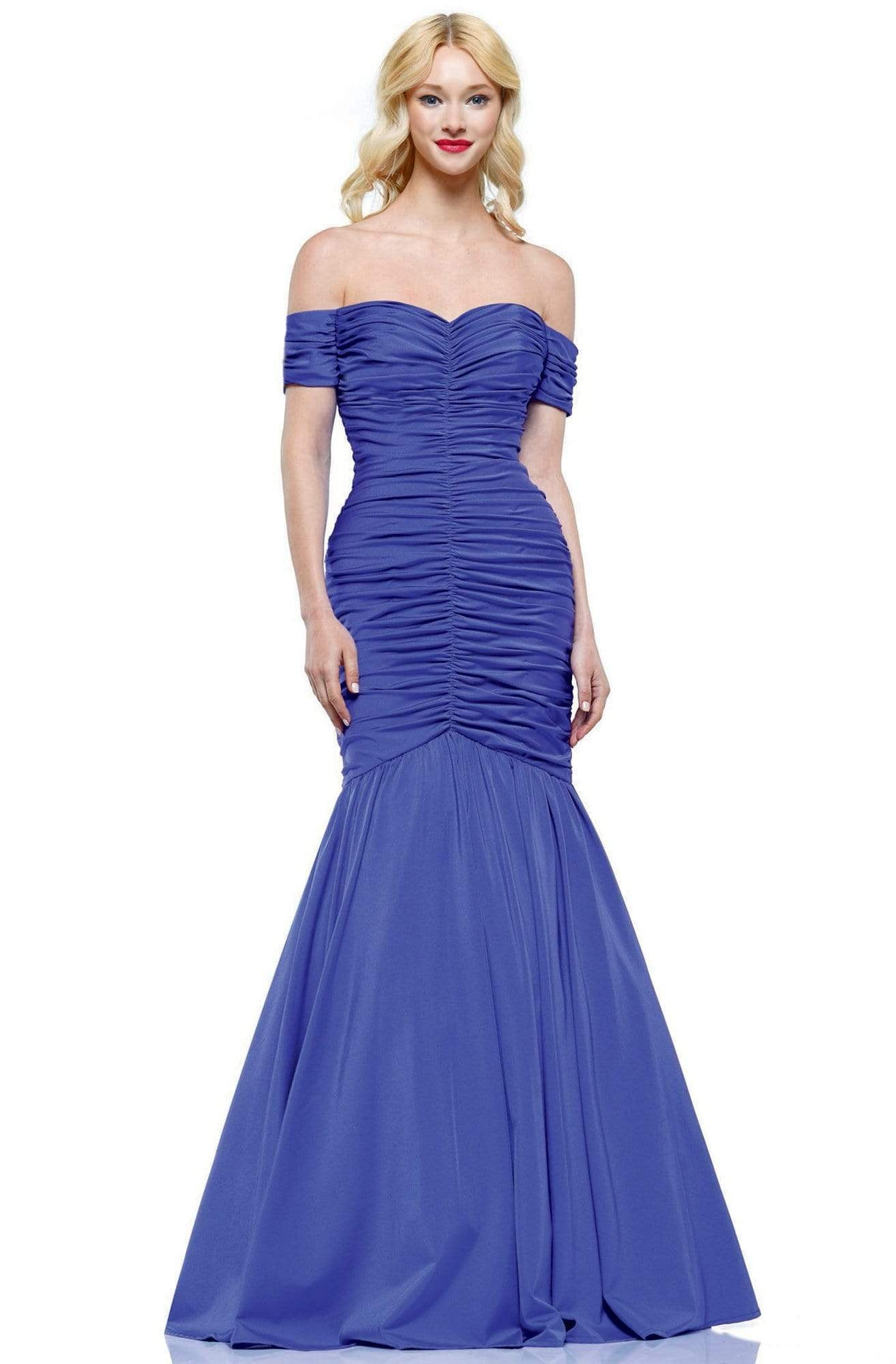 Colors Dress - 2227 Ruched Off Shoulder Mermaid Gown In Blue
