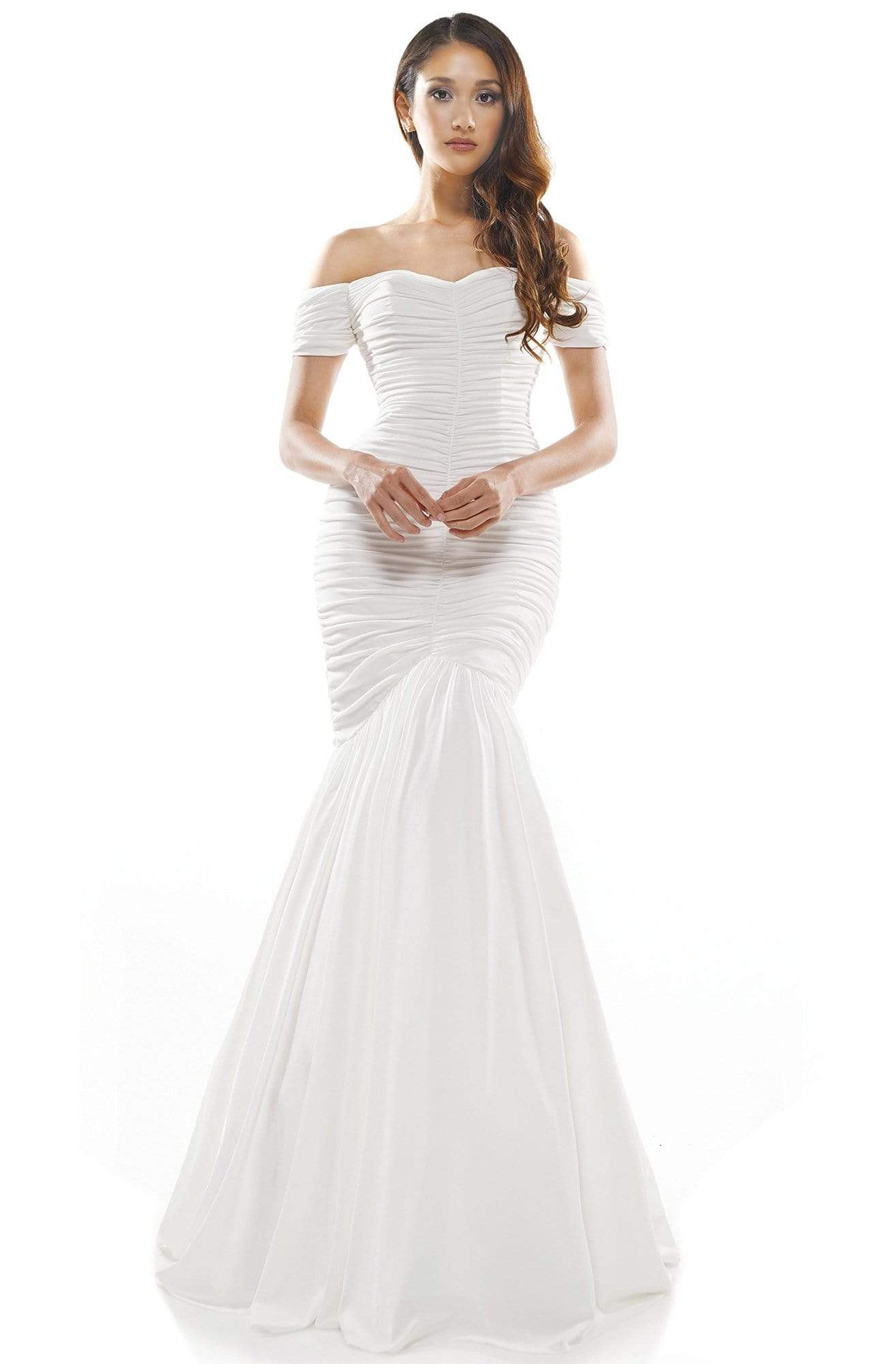 Colors Dress - 2227 Ruched Off Shoulder Mermaid Gown In White
