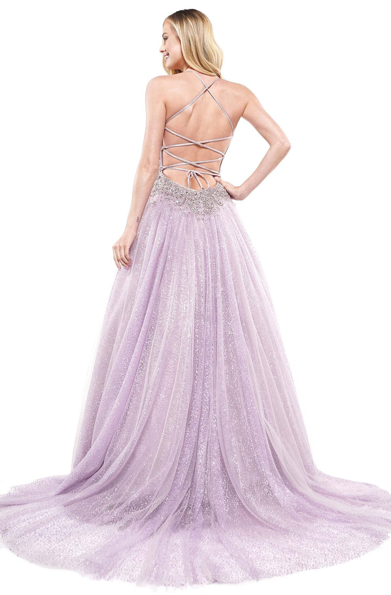 Colors Dress - 2264 Plunging Crystal Embellished Glitter Gown In Purple