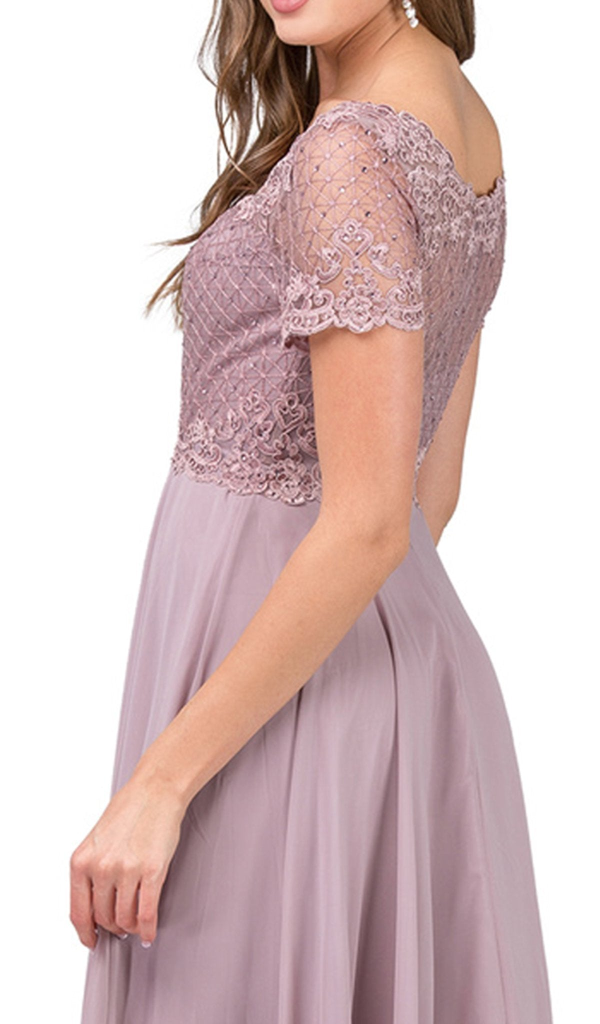 Dancing Queen - Short Sleeve Illusion Lattice Ornate A-Line Gown 2268 In Pink