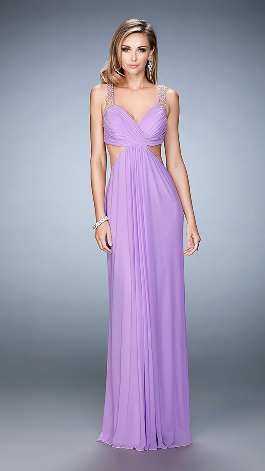 La Femme Bejeweled V-neck Dress 22729 In Purple