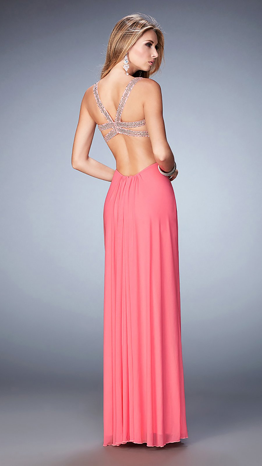 La Femme - 22729SC Shirr-Surplice Cutout Midriff Long Dress
