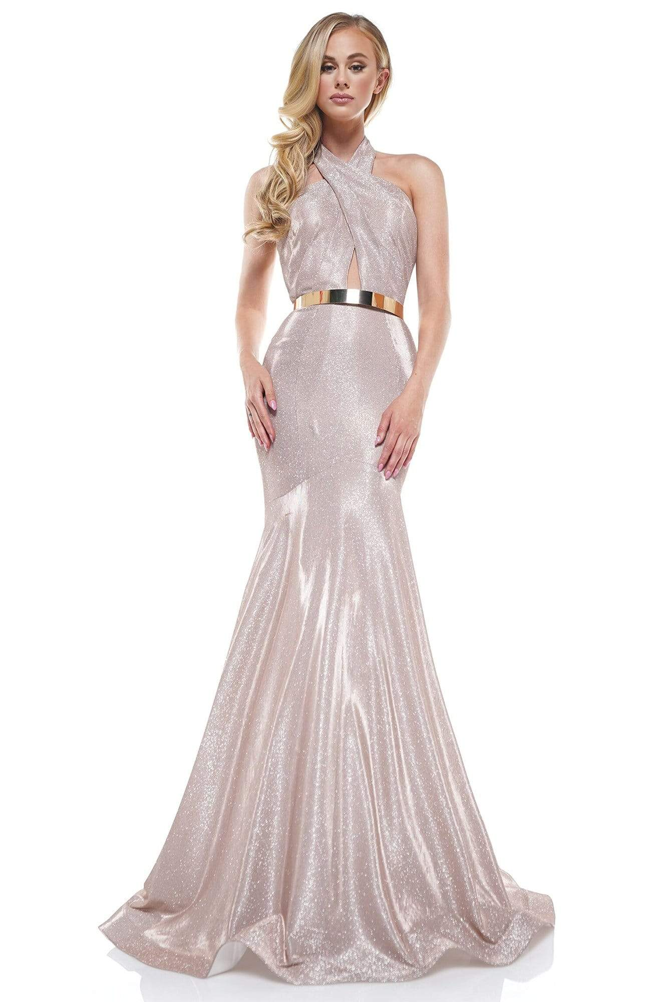 Colors Dress - 2287 Shiny Crossed Neckline Trumpet Dress In Pink
