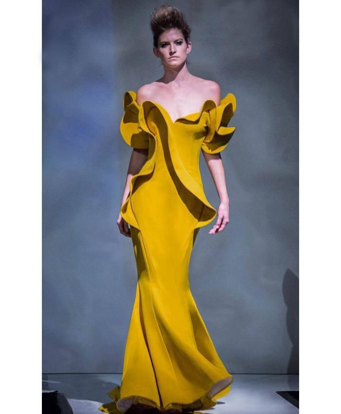 MNM Couture - 2328 Peplum Off-Shoulder Mermaid Evening Gown in Yellow