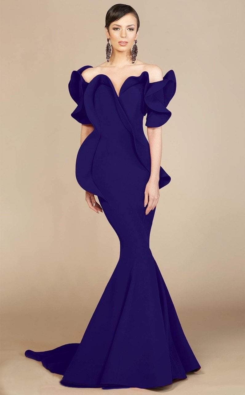 MNM Couture - 2328 Peplum Off-Shoulder Mermaid Evening Gown in Blue