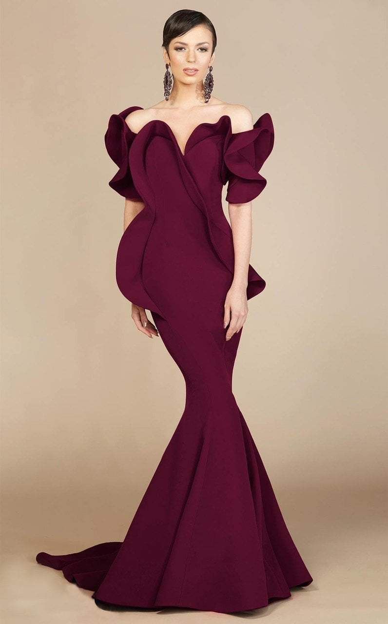 MNM Couture - 2328 Peplum Off-Shoulder Mermaid Evening Gown in Red and Purple