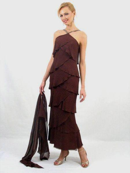 Daymor Couture - Halter Tiered Sheath Long Evening Dress 3451 in  Brown