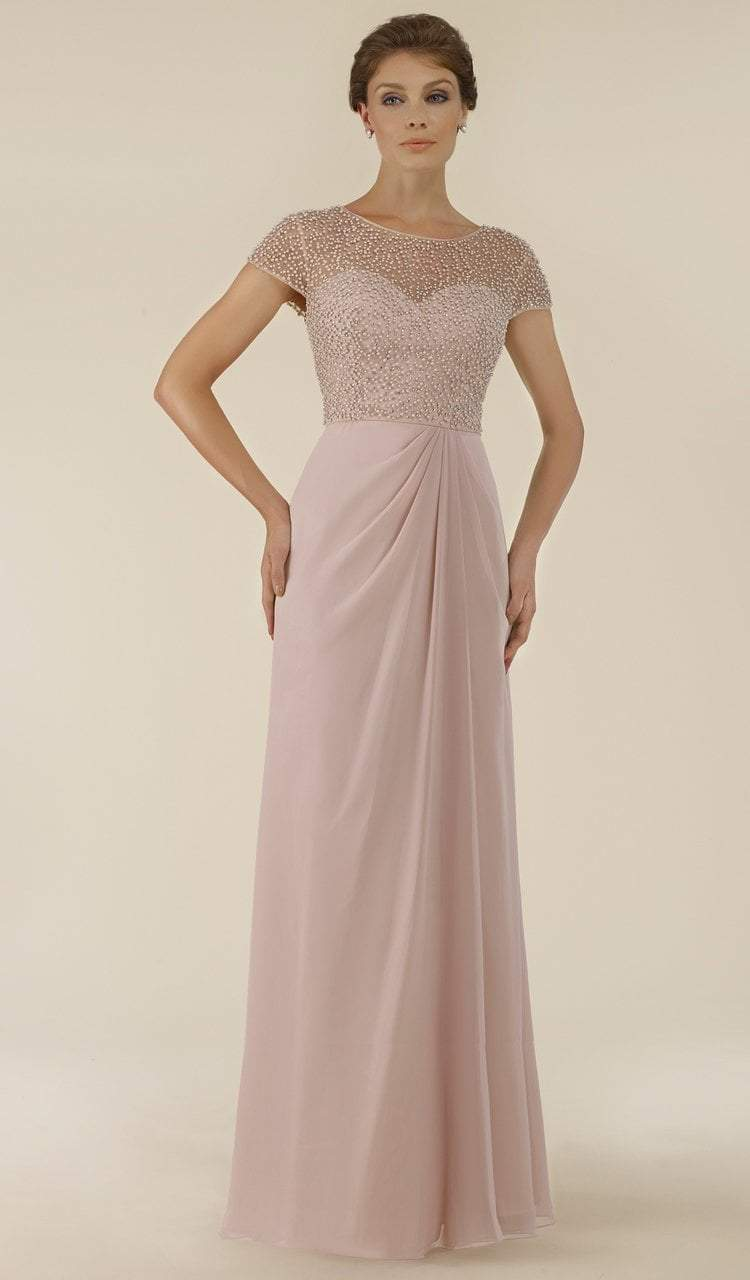 Rina Di Montella - RD2430 Pearl Beaded Illusion Bateau Chiffon Gown Special Occasion Dress 4 / Rose