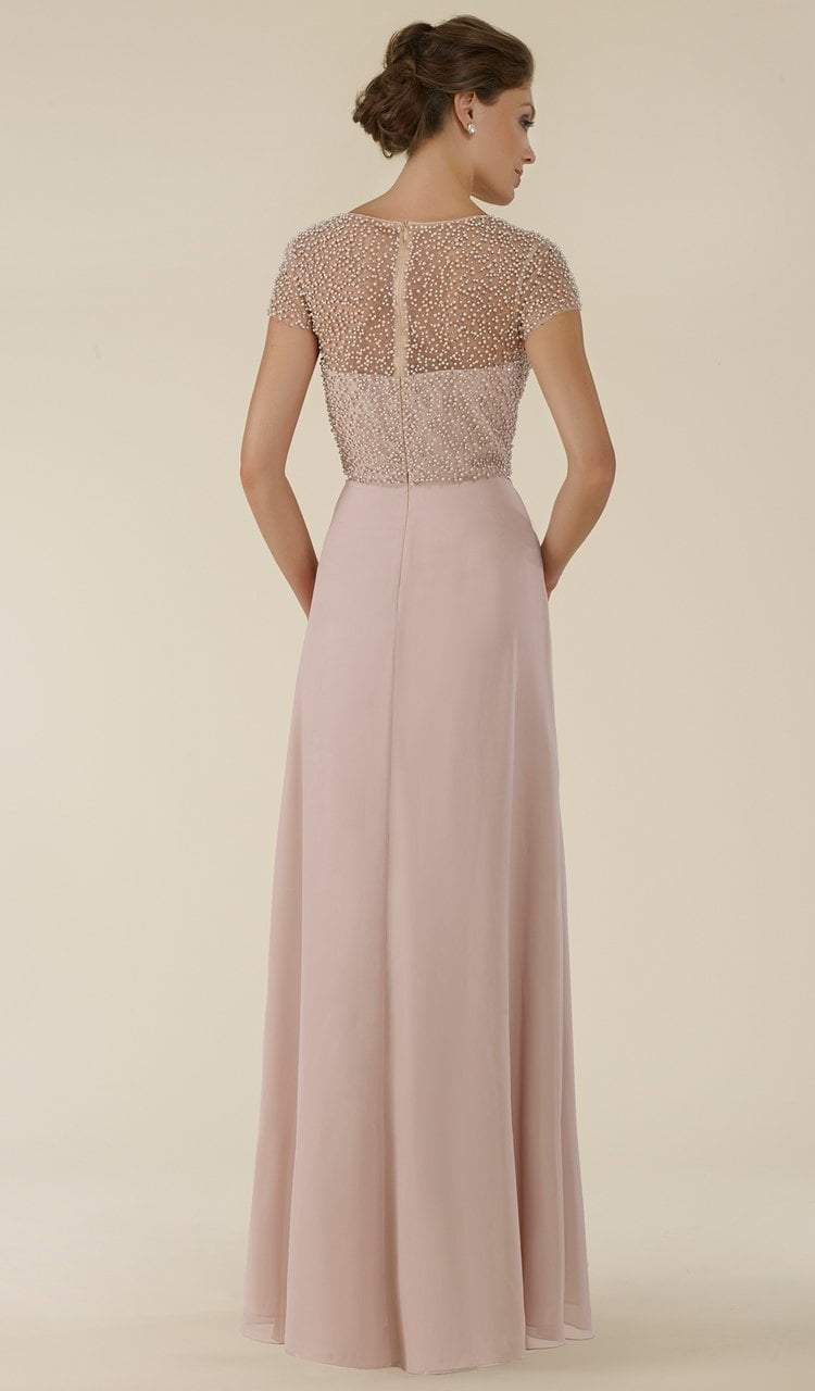 Rina Di Montella - RD2430 Pearl Beaded Illusion Bateau Chiffon Gown Special Occasion Dress