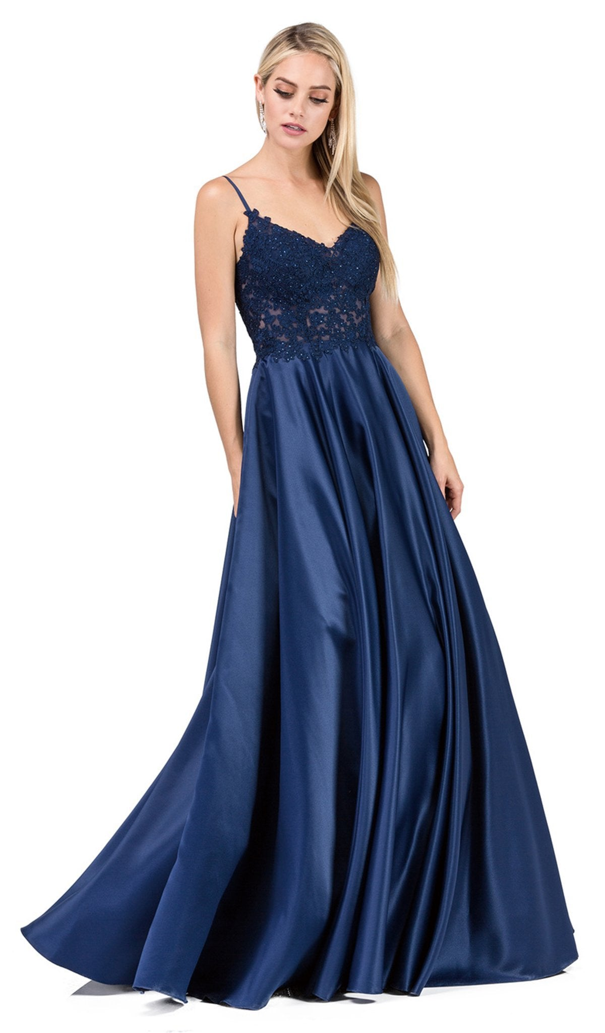 Dancing Queen - 2459A Jewel Appliqued Spaghetti Strapped A-Line Gown In Blue