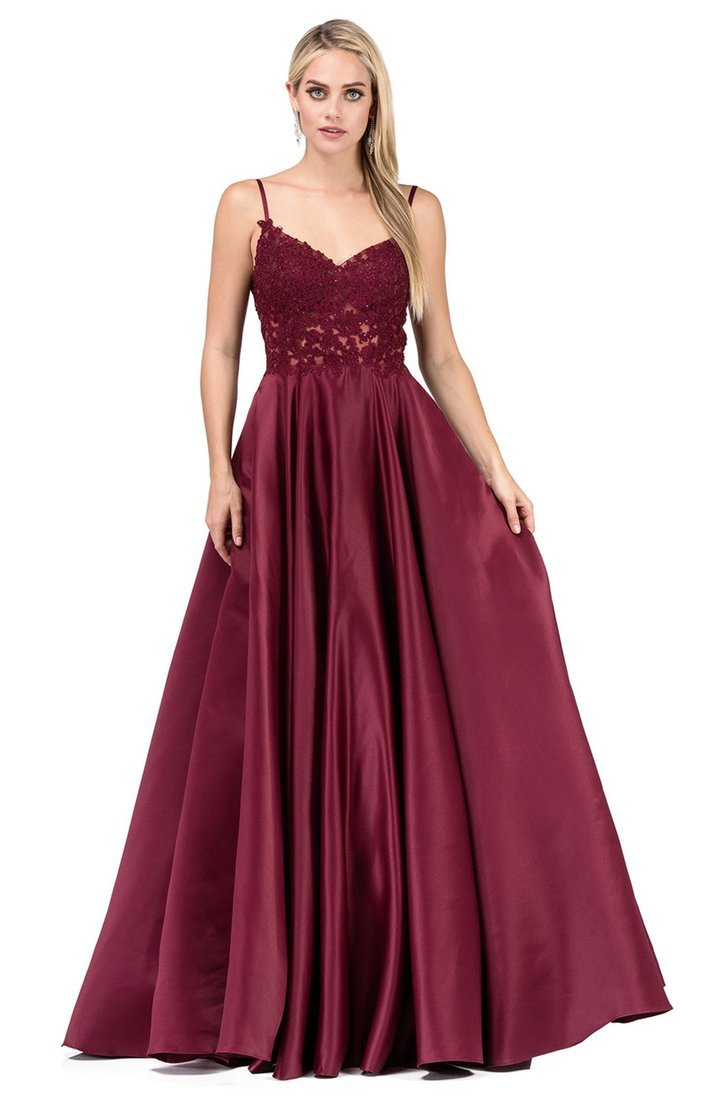 Dancing Queen - Lace Appliqued Long Prom Gown 2459 In Red