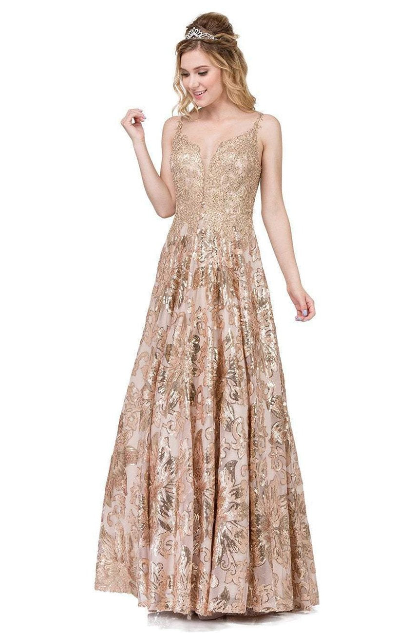 Dancing Queen - Appliqued Metallic Floral Prom Gown 2466 In Gold