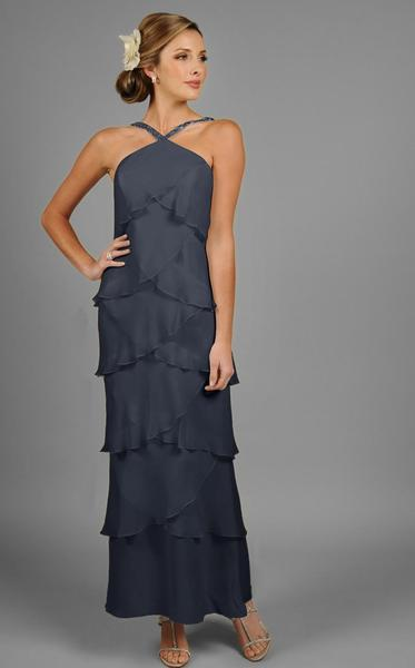 Daymor Couture - Halter Tiered Sheath Long Evening Dress 3451 in Gray
