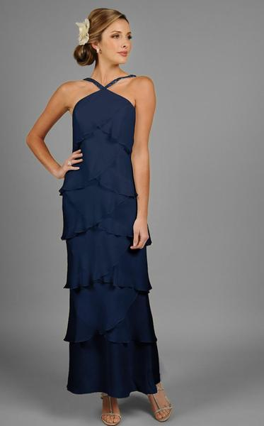 Daymor Couture - Halter Tiered Sheath Long Evening Dress 3451 in Blue