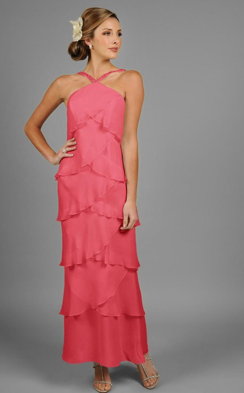 Daymor Couture - Halter Tiered Sheath Long Evening Dress 3451 In Pink