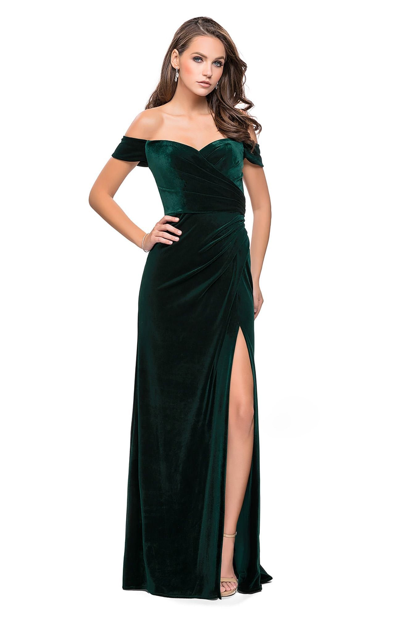 La Femme - Off-Shoulder Sheath Evening Gown with Slit 25213 In Green