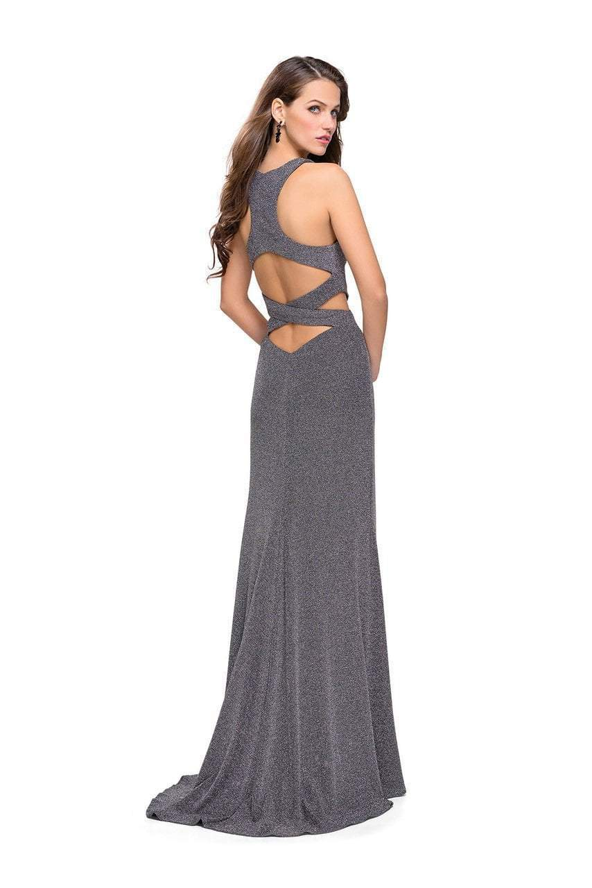 La Femme - 25422 Strappy Fitted Slit Halter Dress in Silver
