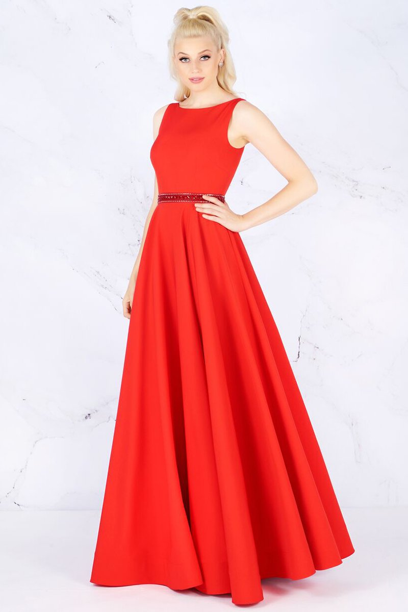 Mac Duggal - 25608L Sleeveless Bateau Crepe A-Line Gown In Red