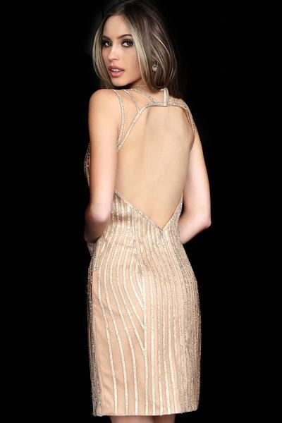 Jovani - 2570 Embellished Open Back Cocktail Dress In Neutral