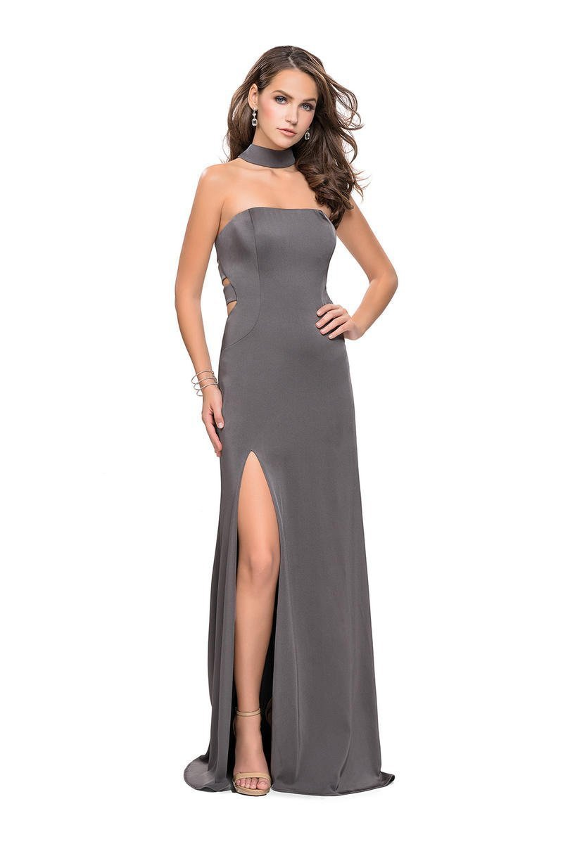 La Femme - Choker Style Fitted High Slit Dress 25735 In Gray