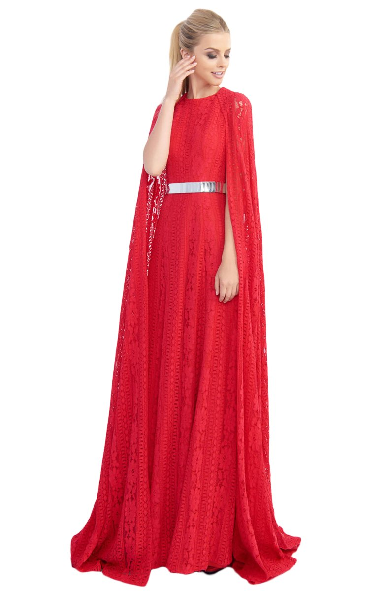 Ieena Duggal - 25740I Lace Cape Belted Dress In Red