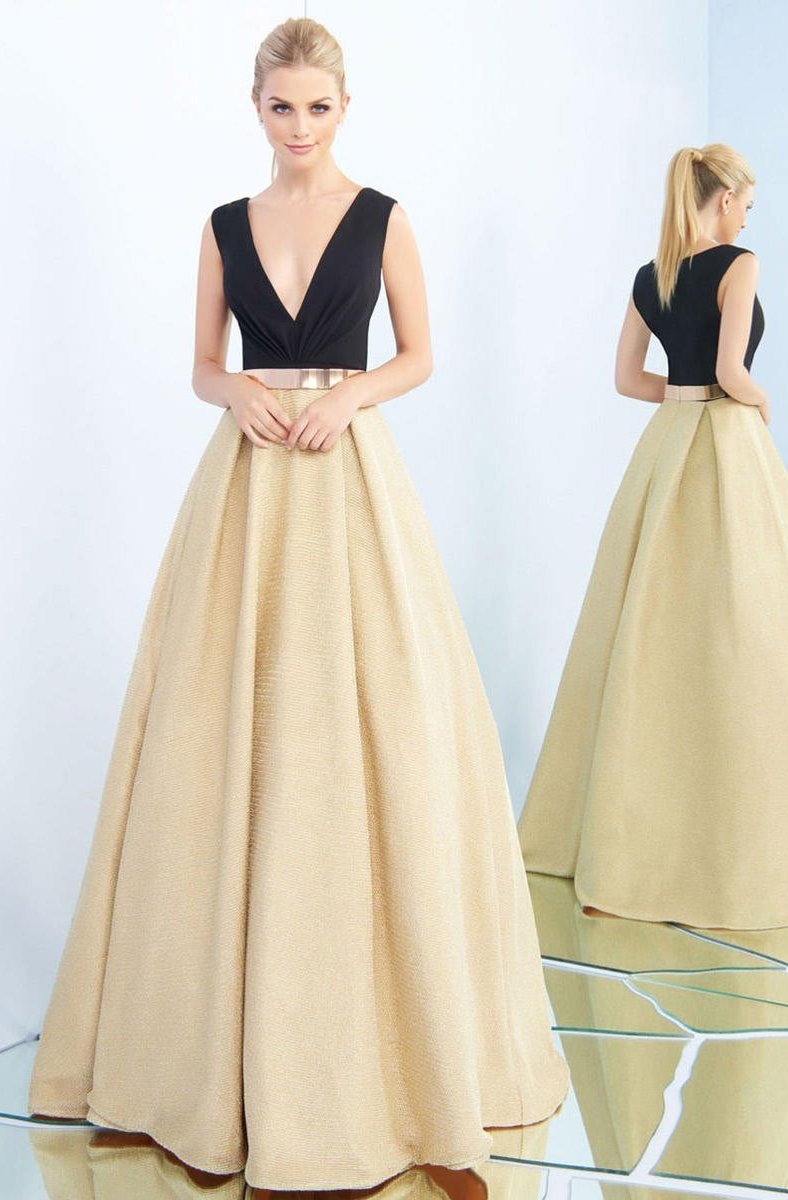 Ieena Duggal - 25878I Sleeveless Ruched V-Neck Metallic Gown In Gold