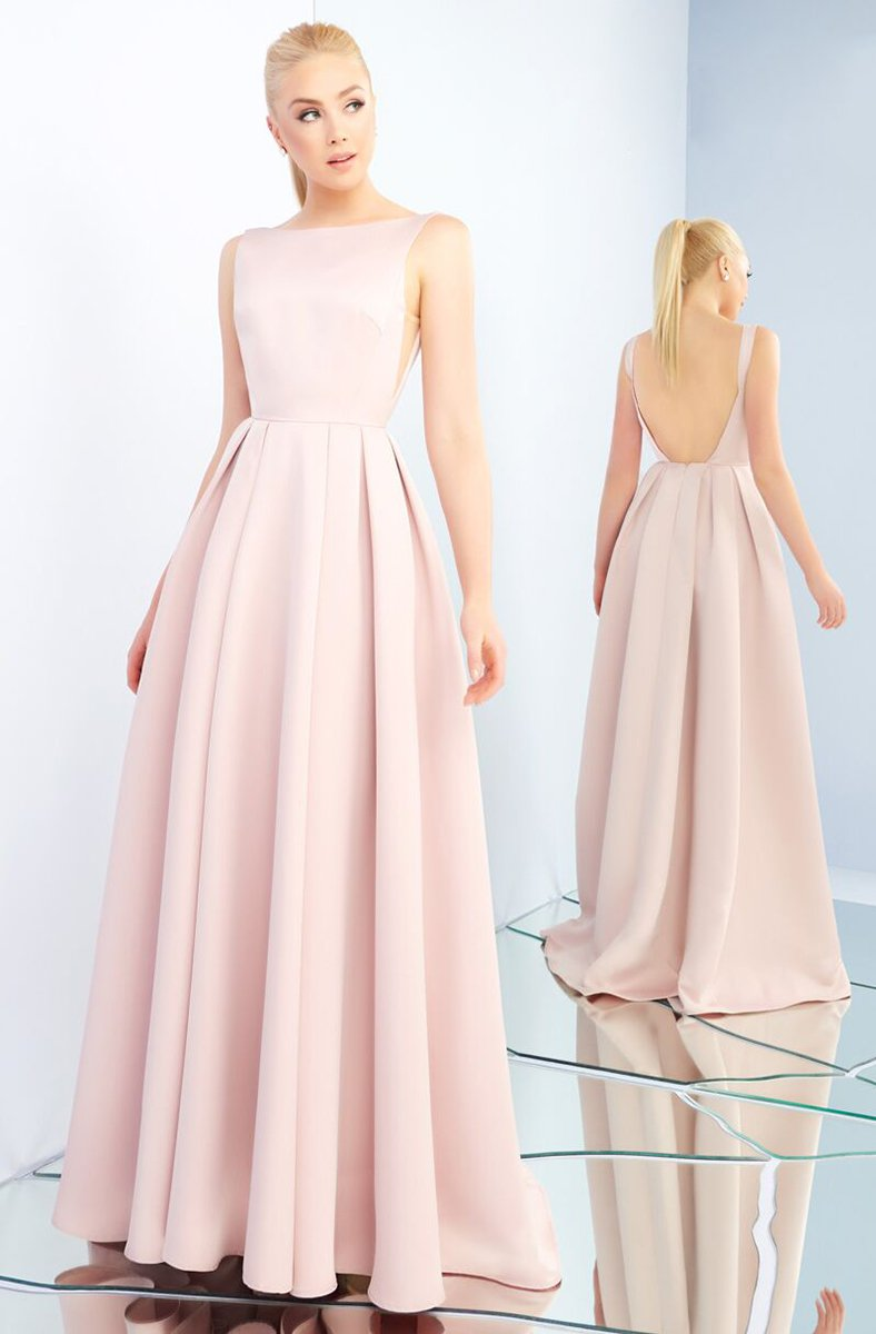Ieena Duggal - 25945I Sleeveless Bateau Pleated Ballgown With Train in Pink