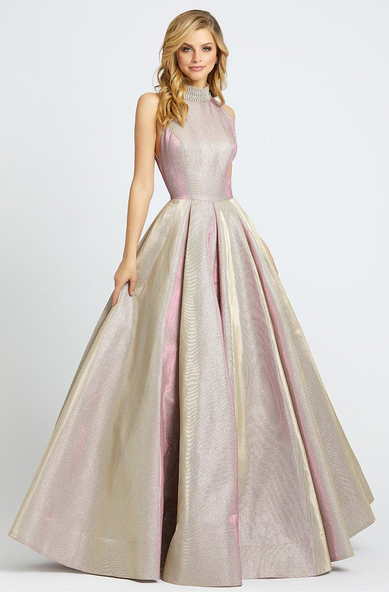 Ieena Duggal - 25957I Beaded High Halter Metallic Ballgown in Pink