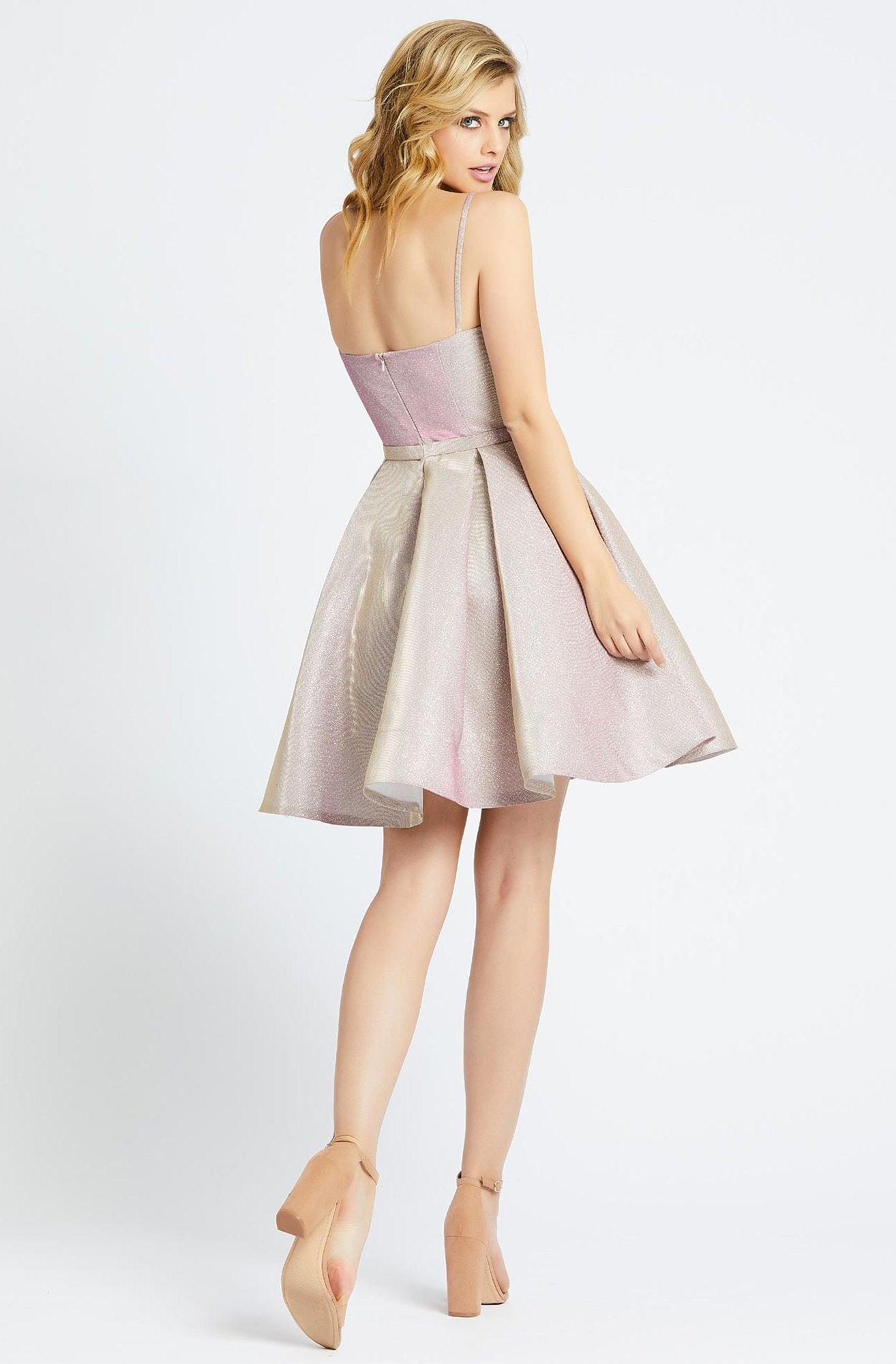 Ieena Duggal - 25982I Fitted Scoop A-Line Cocktail Dress in Pink