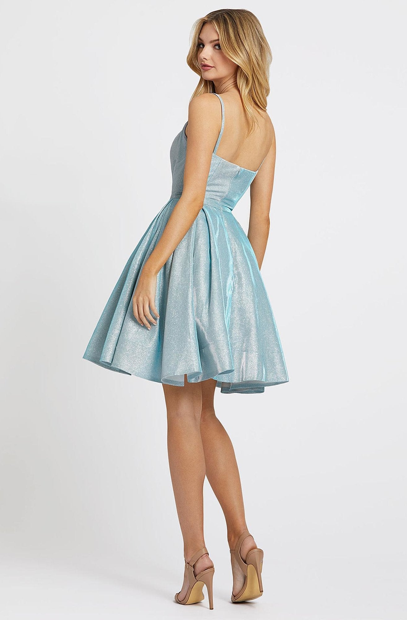 Ieena Duggal - 25982I Fitted Scoop A-Line Cocktail Dress in Blue
