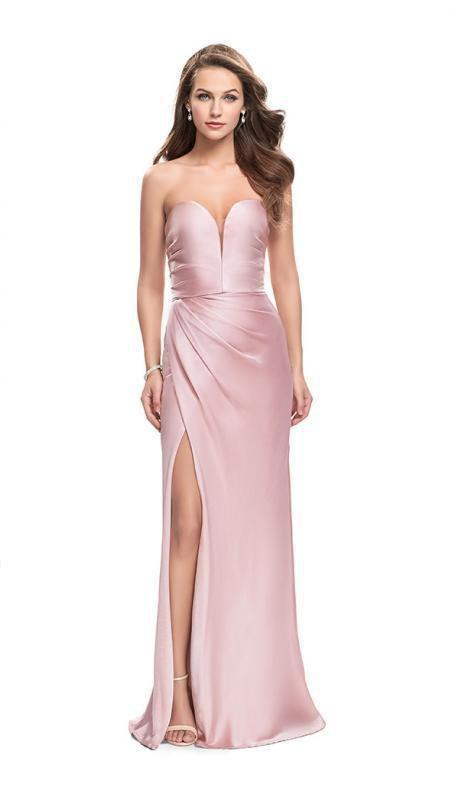 La Femme - 26017SC Plunging Sweetheart Dress with Slit