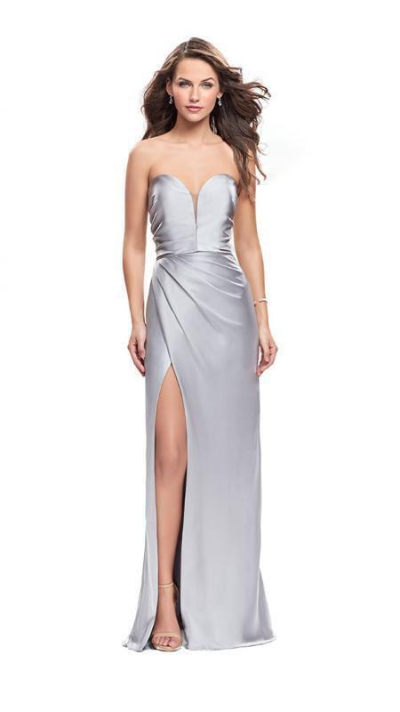 La Femme - Plunging Sweetheart Satin Sheath Evening Dress 26017 - 1 pc Silver In Size 0 Available In Silver
