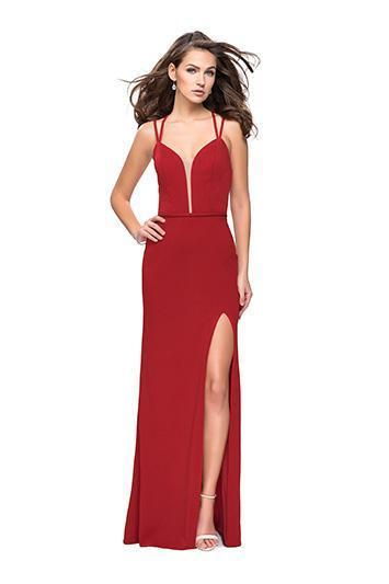 La Femme - Strappy Deep V-neck Sheath Dress 26023 In Red
