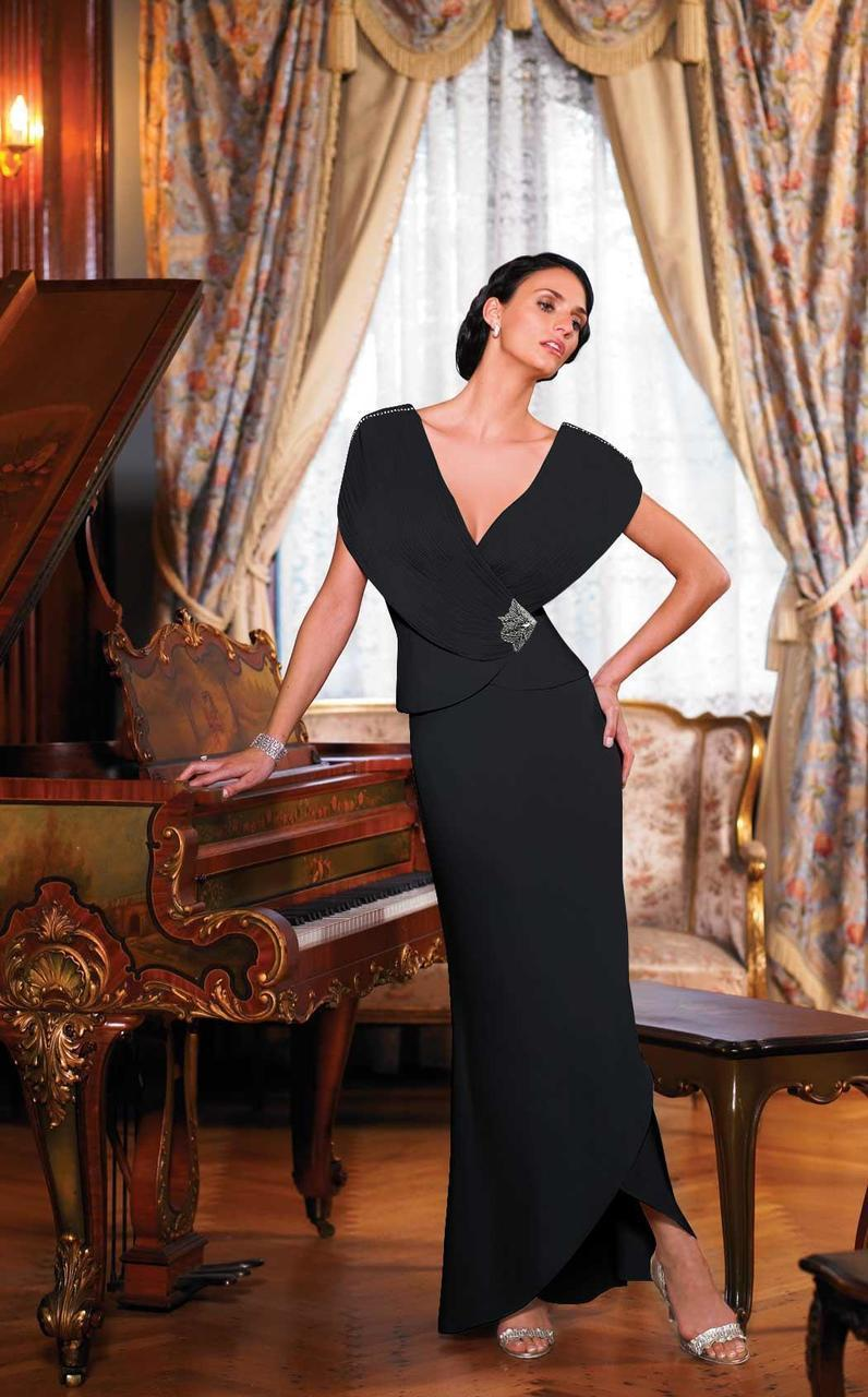 Alexander by Daymor - 5001SC Ruched Plunging V-Neck Sheath Gown