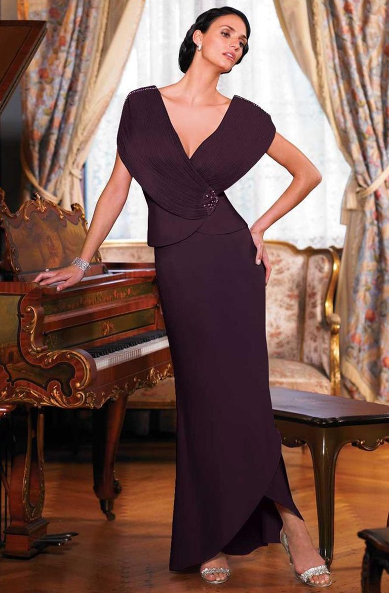 Daymor Couture - 5001 Plunging Surplice V-Neck Sheath Dress In Purple
