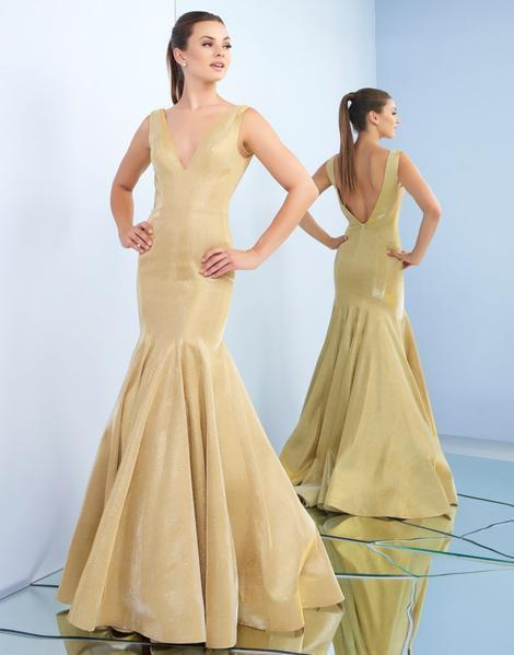 Ieena Duggal - 26074I Plunging V-Neck Gold Mermaid Gown in Gold