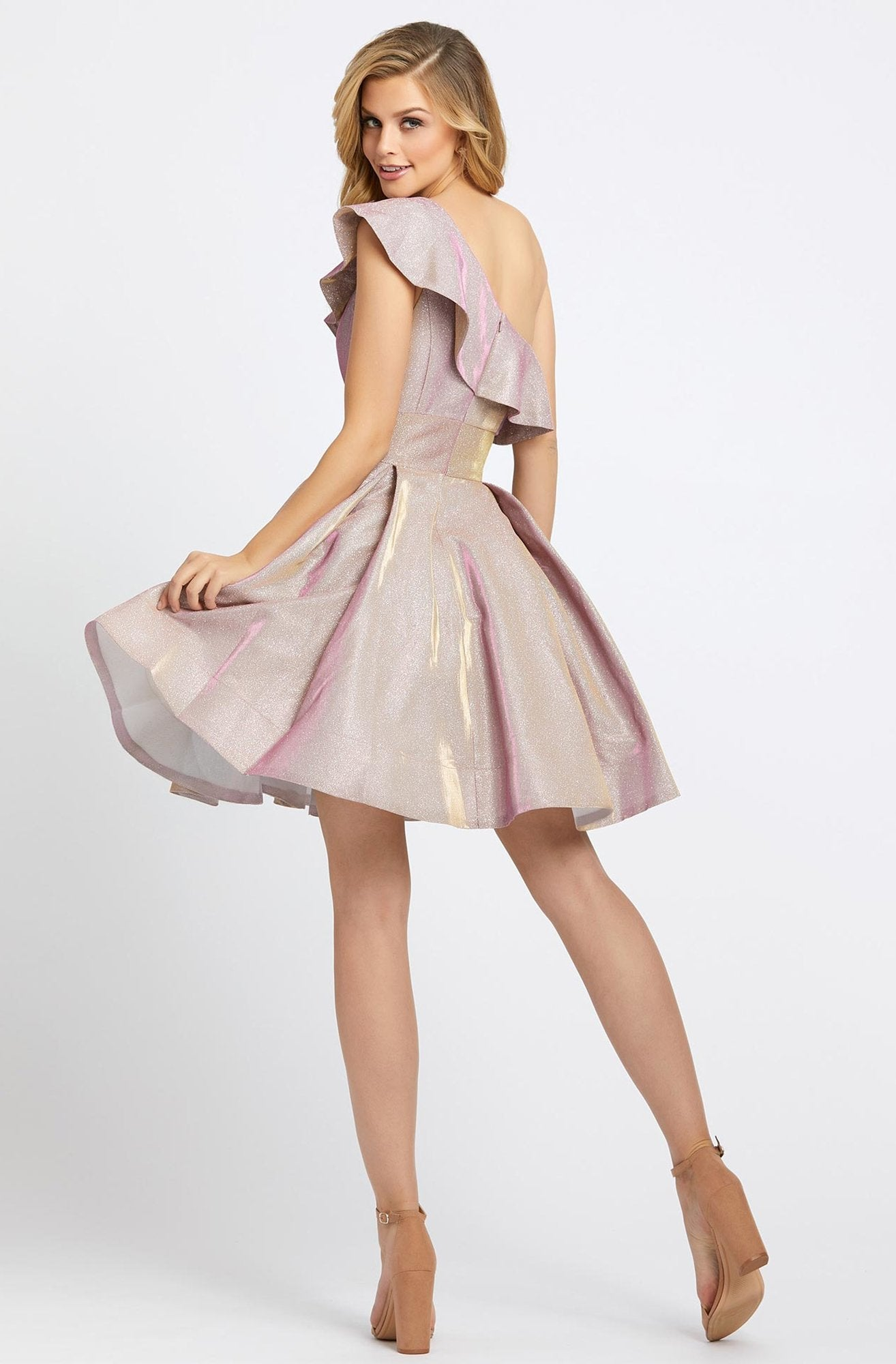 Ieena Duggal - 26097I Ruffled Asymmetrical A-Line Cocktail Dress In Pink
