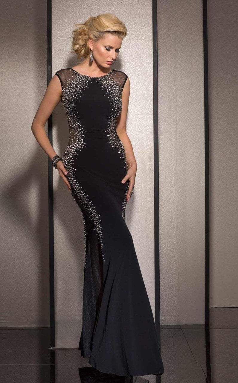 Clarisse - 2627 Bedazzled Jewel Sheath Dress in Black and Silver