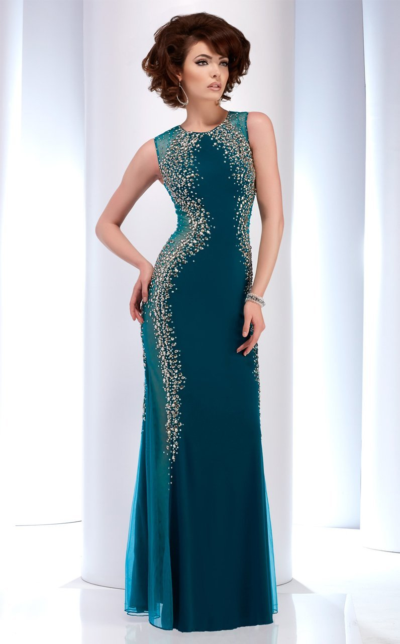 Clarisse - 2627 Bedazzled Jewel Sheath Dress in Green