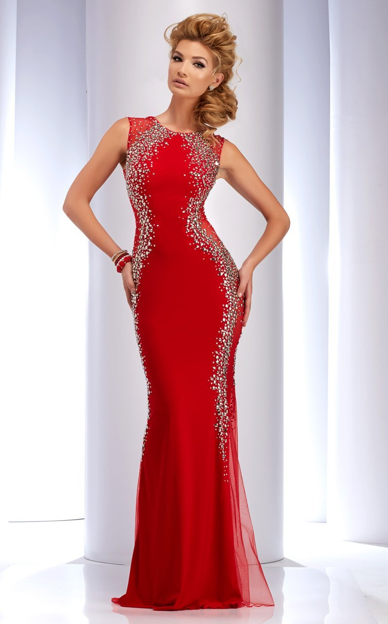 Clarisse - 2627 Bedazzled Jewel Sheath Dress in Red