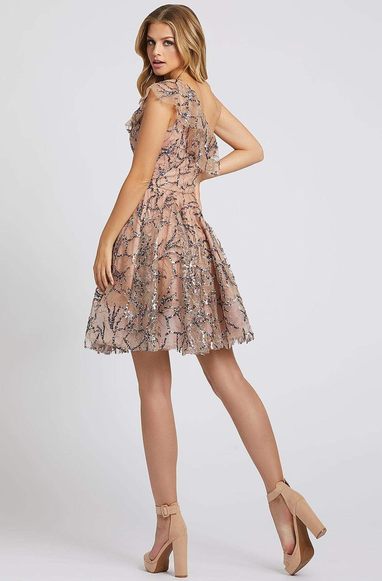 Ieena Duggal - 26336I Flounced Asymmetrical Bodice Sequined Dress In Neutral and Multi-Color