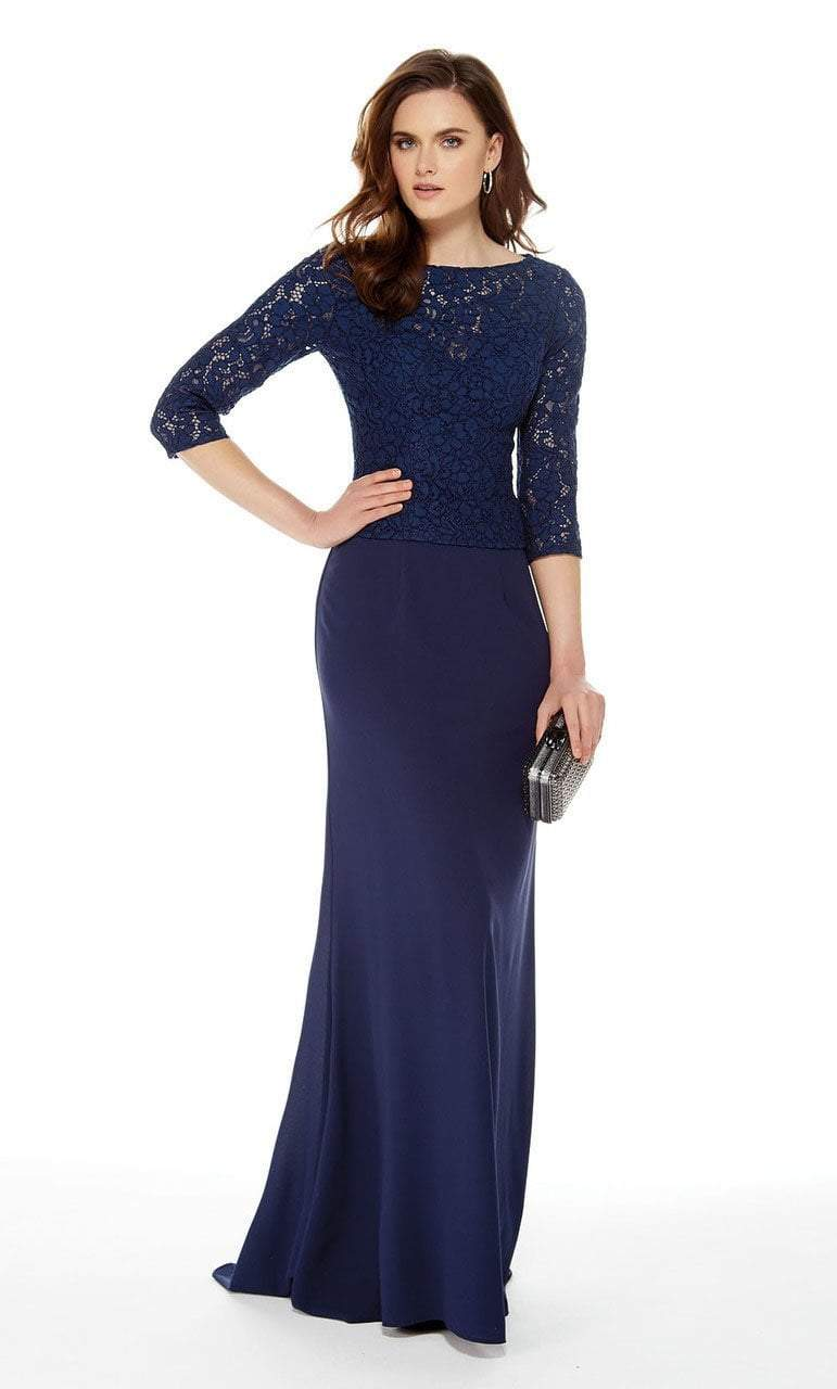 Alyce Paris - 27017 Quarter Length Sleeve Lace Sheath Dress Special Occasion Dress 2 / Navy