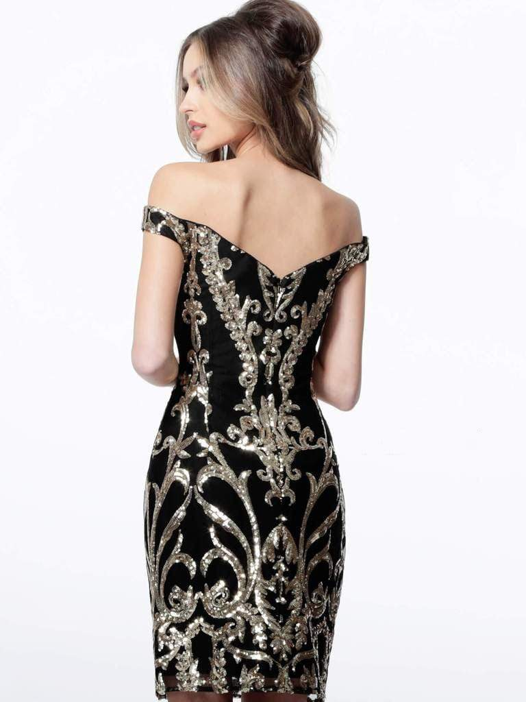 Jovani - 2666 Bead Embellished Plunging Off-Shoulder Dress Special Occasion Dress 00 / Black/Gold