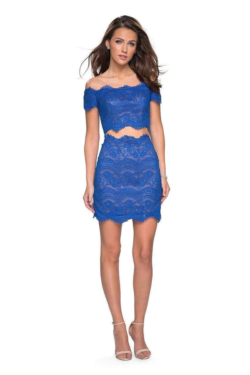 La Femme - Two Piece Scalloped Off-Shoulder Fitted Dress 26666 - 1 pc White In Size 6 and 1 pc Electric Blue in Size 4 Available CCSALE 4 / Electric Blue