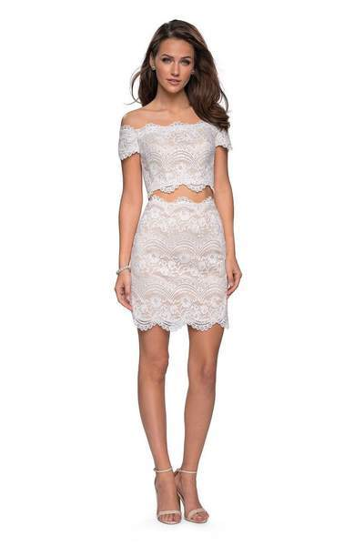 La Femme - Two Piece Scalloped Off-Shoulder Fitted Dress 26666 In White