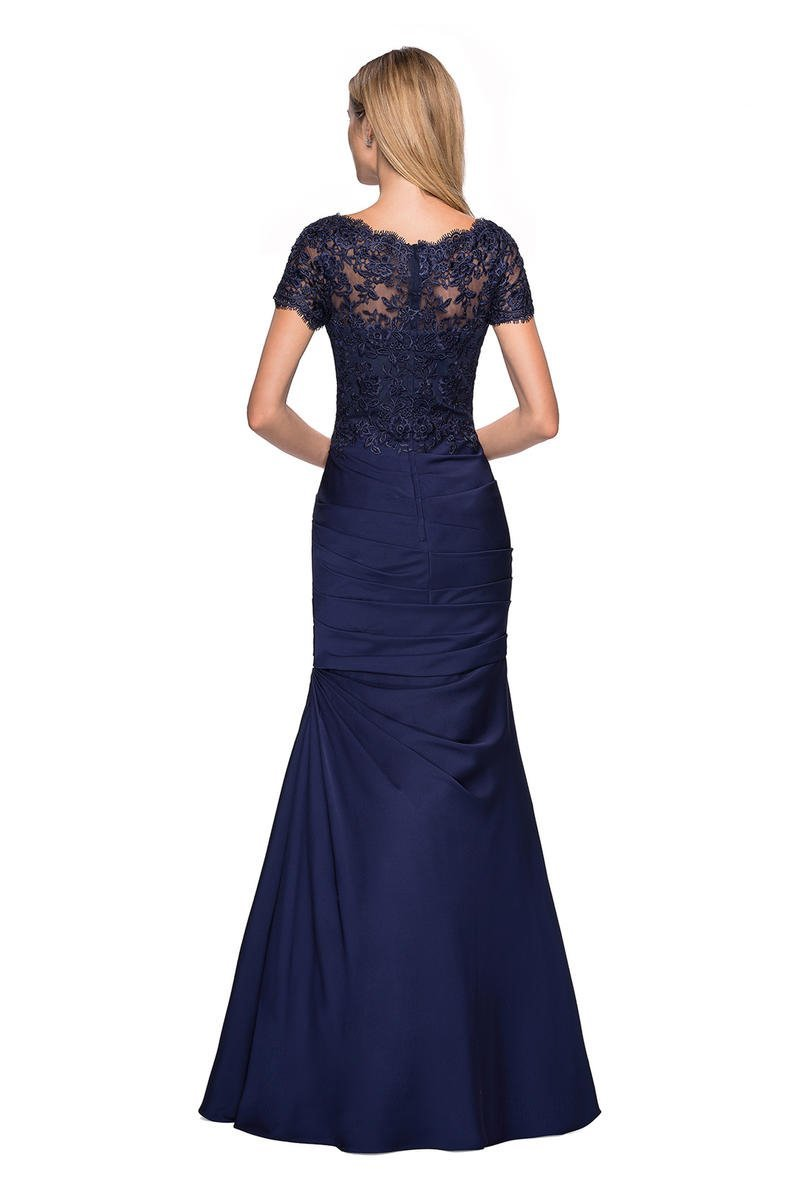 La Femme - Short Sleeve Scalloped Lace Bodice Trumpet Gown 26979 In Blue
