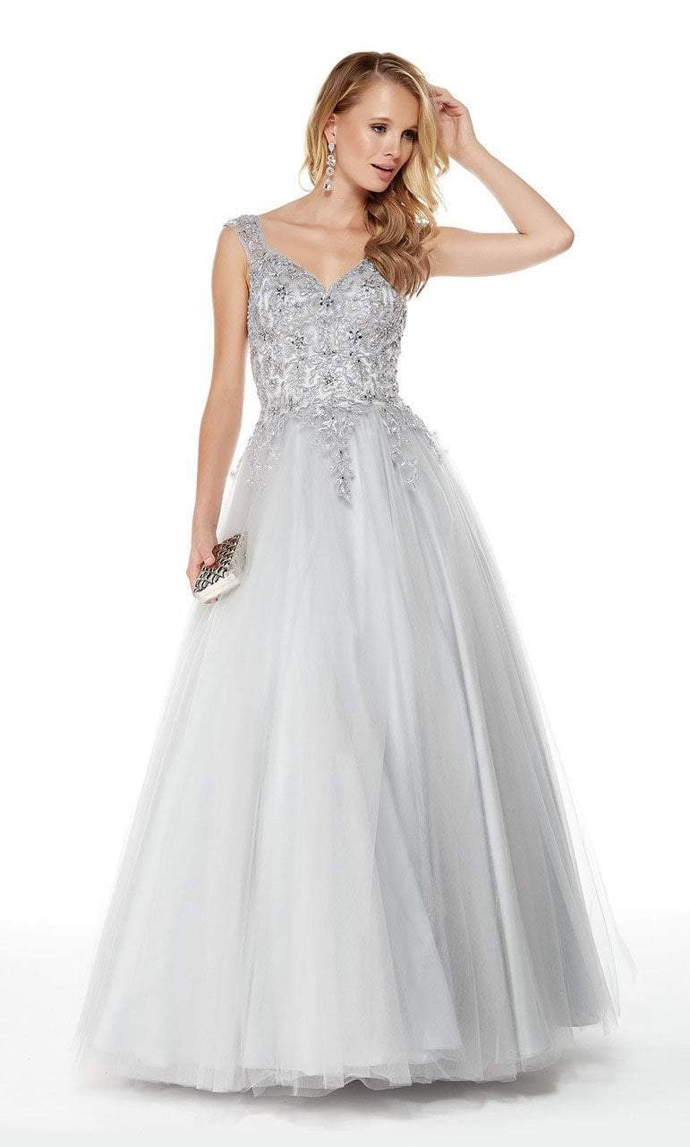 Alyce Paris - 27003 Embellished Lace Sweetheart Ballgown Special Occasion Dress 4 / Silver