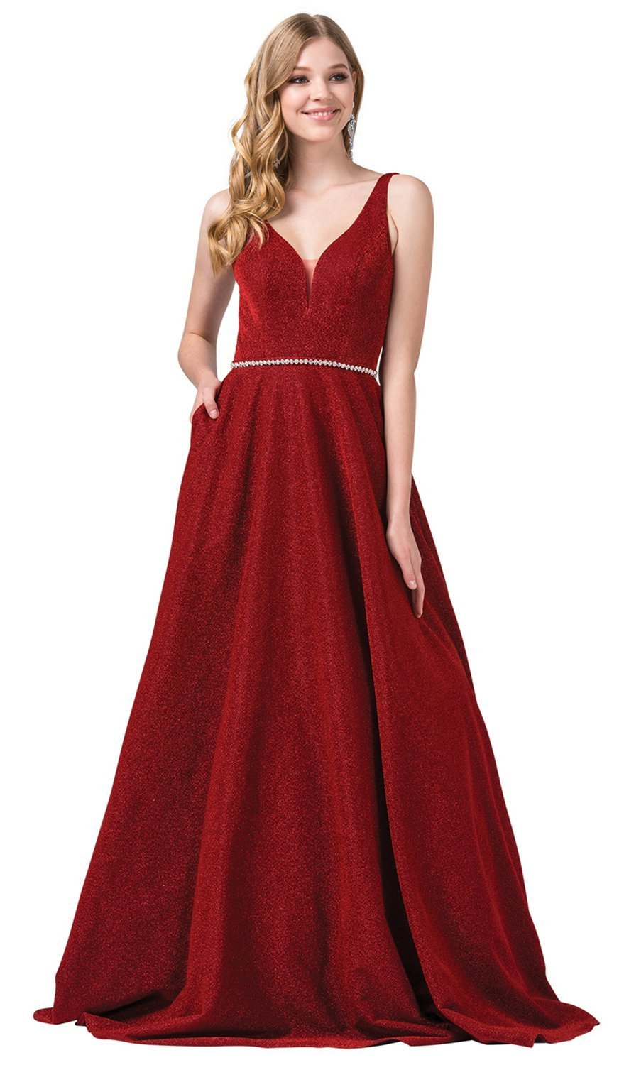 Dancing Queen - 2706 Deep V-neck A-line Gown in Red