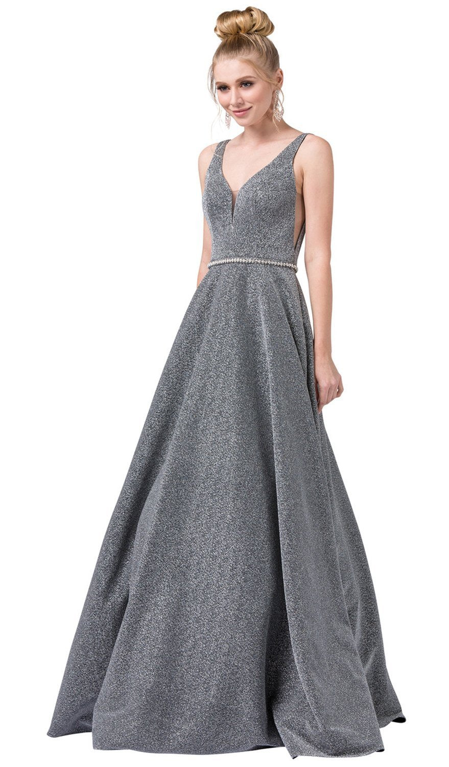 Dancing Queen - 2706 Deep V-neck A-line Metallic Gown In Silver